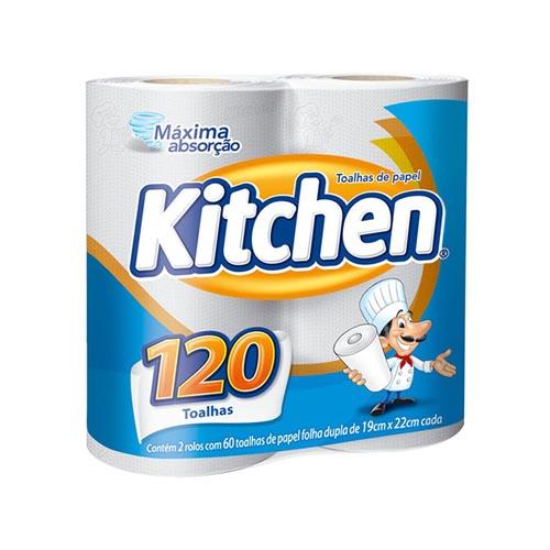 Toalha de Papel Kitchen Folha Dupla 2 Rolos 60 Folhas