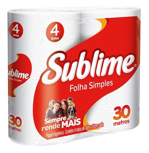 Papel Higiênico Sublime Folha Simples Neutro 30m com 4 und