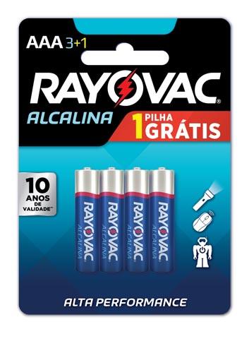Pilha Alcalina Rayovac Tamanho AAA Leve 4 Pague 3 Cartela com 4 und