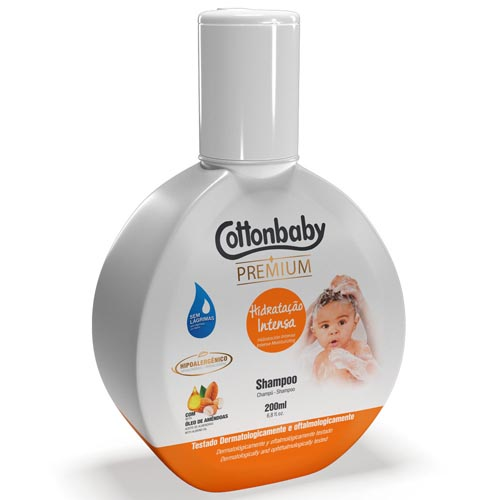 Shampoo Cottonbaby Premium Hidratação Intensa 200ml