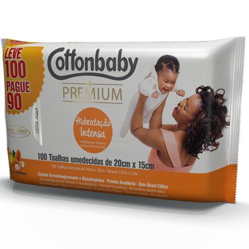 Toalha Umedecida Cottonbaby Premium Hidratação Intensa Leve 100 Pague 90 und