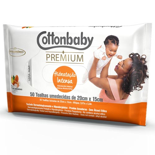 Toalha Umedecida Cottonbaby Premium Hidratação Intensa com 50 und
