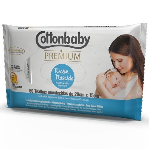 Toalha Umedecida Cottonbaby Premium Recém Nascido com 50 und