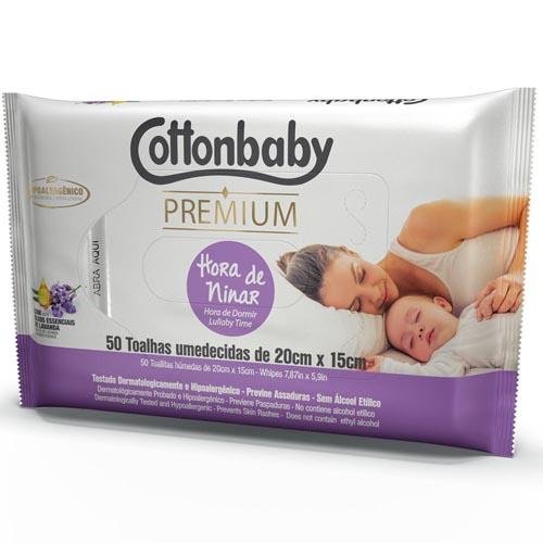 Toalha Umedecida Cottonbaby Premium Hora de Ninar com 50 und