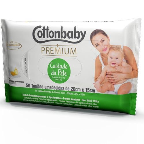Toalha Umedecida Cottonbaby Premium Cuidado da Pele com 50 und