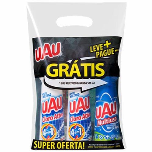 Kit Multiuso Uau com Cloro Ativo 500ml + Grátis 1 Multiuso Lavanda