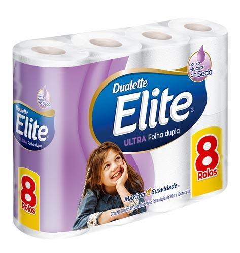Papel Higiênico Elite Dualette Folha Dupla 30m Neutro com 8 und
