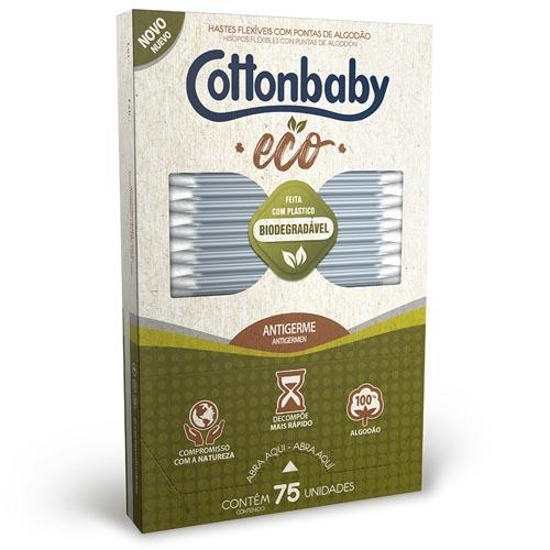 Hastes Flexíveis Cottonbaby Ecológicas Cartucho com 75 und