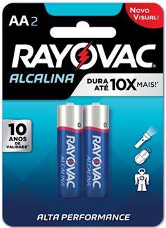Pilha Alcalina Rayovac Tamanho AA Cartela com 2 und
