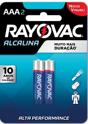 Pilha Alcalina Rayovac Tamanho AAA Cartela com 2 und