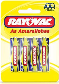 Pilha Zinco Rayovac Tamanho AA Cartela com 4 und