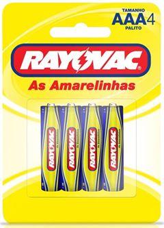 Pilha Zinco Rayovac Tamanho AAA Cartela com 4 und